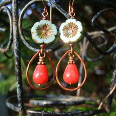 SALE! Azalea - Czech Glass Picasso and Rhodocrosite Flower Earrings, Firescale Patina Copper Teardrop Earrings, Gemstone Earrings