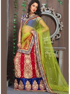 Ravishing Red Bridal Lehenga Choli With Green Net Dupatta