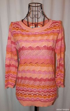 SPARROW SWEATER S Small Orange Pink Scallop Stitch Pullover Anthropologie  #Sparrow #ScoopNeck