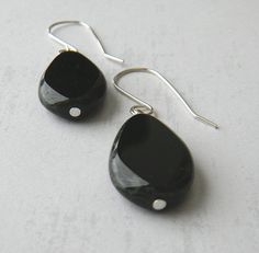 Flat Black Teardrop Earrings by JulieEllisDesigns