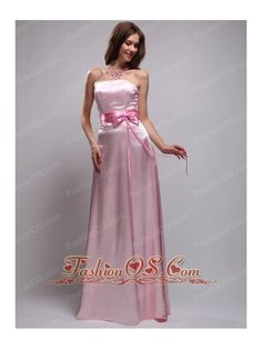 Simple Empire Strapless Floor-length Taffeta Bow Pink Bridesmaid Dress- $98.69  http://www.fashionos.com  http://www.facebook.com/quinceaneradress.fashionos.us  This strapless pink bridesmaid dress owns a contouring line with the tightly hugging bodice and a zipper up back. A hot pink waistband with bow add the sassy feeling. A simple, lovely, yet elegant dress for you. hot pink bowknot bridesmaid dresses | baby pink bridesmaid dresses sashed | breathtaking full length