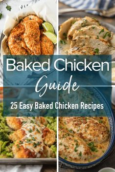 This Baked Chicken Guide will answer all of your questions about making the best baked chicken plus 25 easy baked chicken recipes to inspire your next easy chicken dinner! #bakedchicken #chicken #dinner #easyrecipes #thecookierookie via @beckygallhardin Chicken Recipes Healthy Oven, Healthy Chicken Dinner, Chicken Meals, Fast Dinner Recipes, Delicious Recipes, Duck Recipes, Oven Recipes, Turkey Recipes, Cooking Recipes