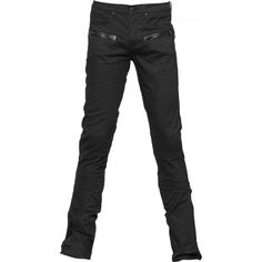 Black gothic jeans from the Queen of Darkness brand of men's pants, detailed with faux-leather crosses, black metal hardware.