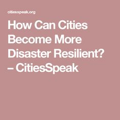 How Can Cities Become More Disaster Resilient? – CitiesSpeak