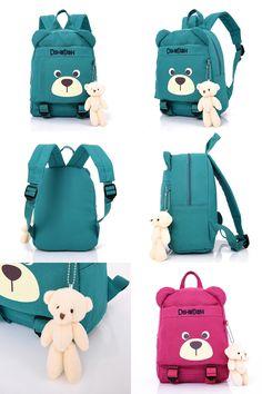 [Visit to Buy] 2017 New Cute Kids School Bags Cartoon Bear Dolls Canvas Backpack Mini Baby Toddler Book Bag Kindergarten Rucksacks #Advertisement