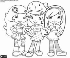 Strawberry Shortcake with friends coloring page