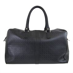 SALVATORE FERRAGAMO  Duffel in embossed Gancio calfskin with double padded handles, top zip closure, inside zipper pocket and cotton canvas lining. #ferragamo