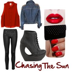 A RED lip, leather and Jeffrey Campbell, what could be sexier?