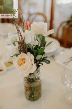 David Austen roses, fine lavender, freesia and gardenia foliage gathered into a mason jar for a simple but striking centrepiece. www.jademcintoshflowers.com.au www.ilovewednesdays.com