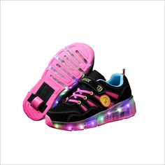 Hanglin Trade Boys Girls LED Light Up Shoes with Wheels Roller Sneakers Skate Shoes Black 2wheels 10 M US Toddler