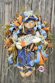 Welcome to our pumpkin patch #scarecrowwreath #fallwreath #autumdecor
