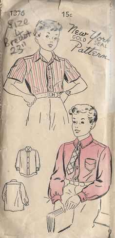 1940s WW2 Childrens Vintage Sewing Pattern S4 C23 Boys