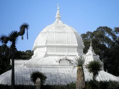 The Conservatory of Flowers is a greenhouse and botanical garden that houses a collection of rare and exotic plants in Golden Gate Park, San Francisco, California. With construction completed in 1878, it remains the oldest building in the park, and the oldest municipal wooden conservatory remaining in the United States.