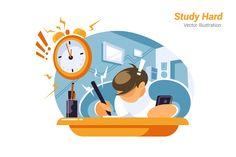 Study Hard Vector Illustration Vector illustration Illustration Flat design illustration
