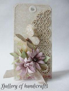 Gallery of handicrafts: Kartka tagowa z tekturką Wedding Cards Handmade, Handmade Gift Tags, Butterfly Cards, Flower Cards, Spellbinders Cards, Paper Tags, Heartfelt Creations, Vintage Tags, Card Tags