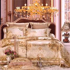Luxury gold stain jacquard bedding set queen king size wedding royal Bed set 4/6pcs bedsheet set duvet cover pillowcases #Affiliate