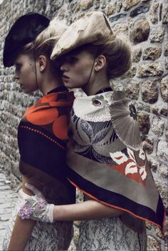 Lara Stone & Aline Weber by Patrick Demarchelier forVogue Paris