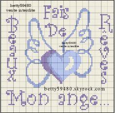Bébé - baby - ange - point de croix - cross stitch - Blog : http://broderiemimie44.canalblog.com/