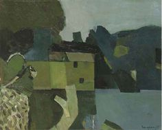 Keith Vaughan – House by a Lake, 1955, oil on board, 35 x 43.2 cm