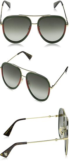 49192f4bbe Gucci GG0062S 003 Gold Green GG0062S Pilot Sunglasses Lens Category 3 Size  57 womens sunglasses