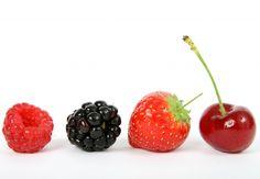 Summer fruit salad ingredients, strawberry, blackberry, cherry
