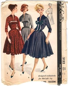 Late 1950s Pauline Trigère dress pattern -- McCall's 5132 - Love the bow on A