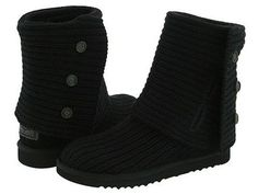 ~*~UGG Brand New Classic Cardy 3 buttons Black Size 5-6 Women's MSRP $160~*~