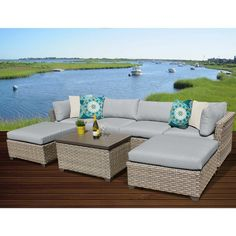 TK Classics Monterey 7 Piece Outdoor Wicker Patio Furniture Set with 2 Covers: Beige and Wheat Outdoor Wicker Patio Furniture, Outdoor Sofa Sets, Patio Furniture Sets, Furniture Layout, Furniture Ideas, Outdoor Living, Wicker Furniture, Furniture Design, Outdoor Areas