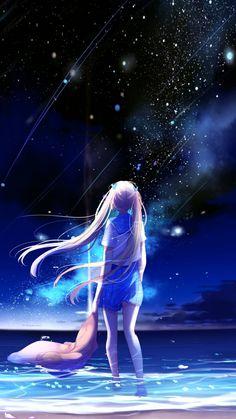 Anime girl, outdoor, night, starfall, 720x1280 wallpaper