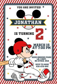 #baseball, #baseballinvitation #BaseballPlayer #birthdayinvitation #Boy Birthday #mickeybirthday #mickeyinvitation #mickeymouse #MickeyMouseBaseballInvitation #MickeyMouseBaseballInvite #mickeymouseparty #Baseball #BaseballInvite #Baseballpaty Mickey Invitations, Baseball Invitations, Kids Birthday Party Invitations, Mickey Mouse, Mickey Birthday, You Are Invited, Baseball Players, Party Printables, Decoration