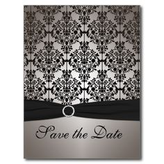 Gray and Black Save the Date Postcard