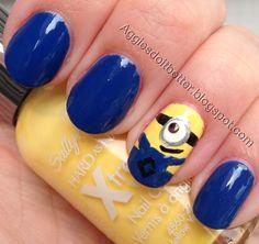 despicable me minion nails! despicable me minion nails! Funky Nail Art, Funky Nails, Cute Nails, Pretty Nails, Nail Polish Designs, Nail Art Designs, Nails Design, Minion Nail Art, Owl Nails