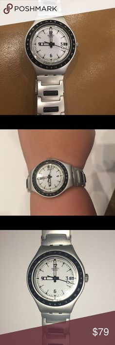 Swatch Irony 38 mm Watch Aluminum Patented Swiss Made. There are some minimal surface scratches that can only been seen in certain lighting. Great condition. Aluminum patented water resistant. Needs new battery. 38 mm. Unisex Watch. Swatch Accessories Watches