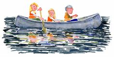 Family in Canoe sailing Watercolor by Frits Ahlefeldt #outdoor #family #kid #blonde #river #fishing #watercolour #painting