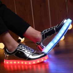 Low Top Silver LED Light Up Shoes For Women