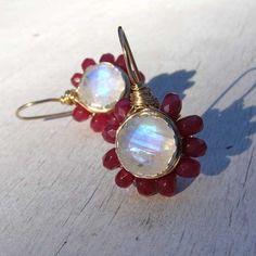 Moonstone & Ruby Earrings