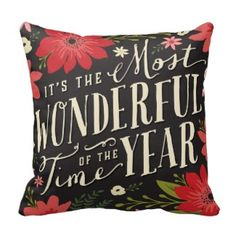 We have all the pillows you need to decorate your couch, futon, and bed with comfortable, fluffy goodness! It's the Most Wonderful Time of the Year Christmas throw pillow on your choice of indoor or outdoor fabric - square or lumbar pillow #christmasthrowpillows #christmaspillows