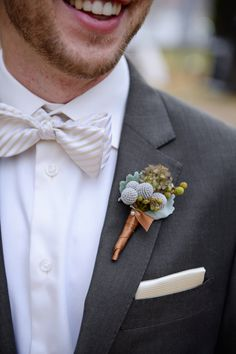 Ivory-Striped Bow Tie With Rustic Boutonniere