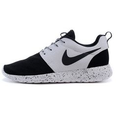 Custom Nike Roshe Run Sneakers Athletic Running Womens Shoes... ($92) ❤ liked on Polyvore featuring shoes, grey, sneakers & athletic shoes, tie sneakers, women's shoes, grey shoes, white black shoes, black white shoes, gray shoes and rhinestone shoes