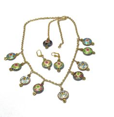Cloisonne Charms  Flower Necklace Gold by BEADEDNECKLACESHOPPE