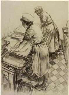 WRNS Working Galley (Art.IWM ART LD 2389) Austin, Robert Sargent
