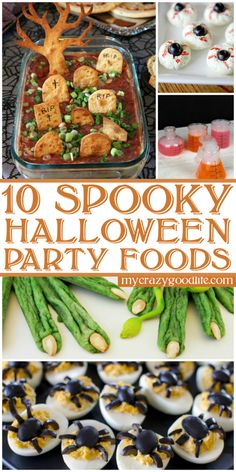These fun and spooky food ideas are perfect for a Halloween party or dinner! Halloween Appetizers, Halloween Dinner, Halloween Food For Party, Spooky Halloween, Halloween Treats, Halloween Foods, Halloween Decorations, Halloween Stuff, Spooky Spooky