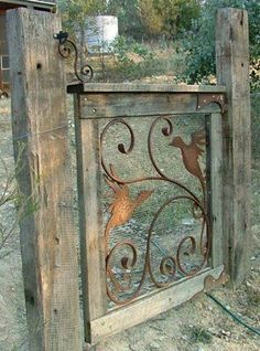 Beautiful DIY gate made with metal scroll work. Simple and stunning; garden and yard art, gate, fence Diy Garden, Dream Garden, Garden Projects, Outdoor Projects, Tor Design, Gate Design, Rustic Gardens, Outdoor Gardens, Rustic Garden Decor