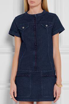 Dark-blue stretch-denim Concealed snap and zip fastening at front 98% cotton, 2% elastane; lining: 100% cotton Dry clean Designer color: Indigo