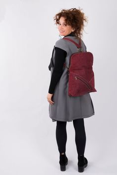 Valentines SALE Maroon Crossbody Bag Leather Backpack by PolaV  #leather #bag #backpack #handmade #polav