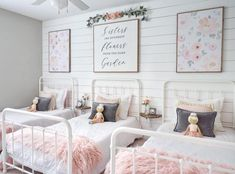 Dreamy Shared Girls' Room FINALLY FINISHED! Sweet garden theme, blush pink, pale coral, soft greens, golds and greys for three little ladies.
