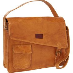 Sharo Leather Bags  Computer Messenger Bag (180 CAD) ❤ liked on Polyvore featuring bags, messenger bags, orange, orange leather bag, orange messenger bag, brown messenger bag, leather bags and real leather bags