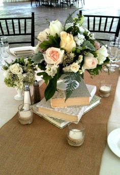centerpieces for weddings books and milk glass | Wedding Centerpiece w/ Books and milk glass