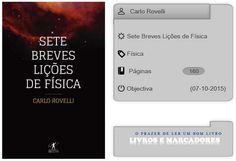 Livros e marcadores: Sete Breves Lições de Física de Carlo Rovelli