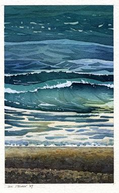 Cold Sea by Iain Stewart. Watercolour ~ 10 x 6